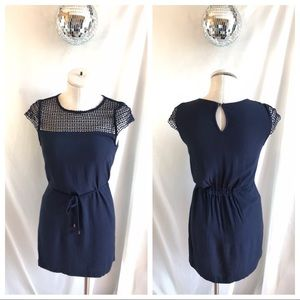 Zara Navy Belted Lace Bodice Short Sleeve Dress